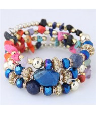Bohemian Fashion Crystal and Artificial Turquoise Mixed Design Triple Layers Fashion Bracelet - Multicolor
