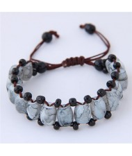 Folk Style Resin Beads Weaving Fashion Bracelet - Gray