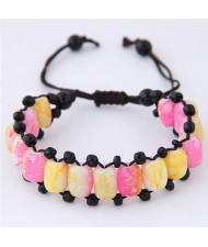 Folk Style Resin Beads Weaving Fashion Bracelet - Pink