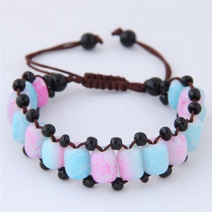 Folk Style Resin Beads Weaving Fashion Bracelet - Blue