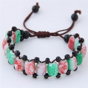 Folk Style Resin Beads Weaving Fashion Bracelet - Green