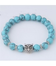Cute Night Owl Turquoise Beads Vintage Fashion Bracelet - Blue