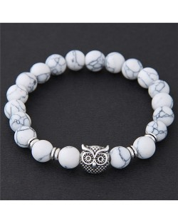 Cute Night Owl Turquoise Beads Vintage Fashion Bracelet - White