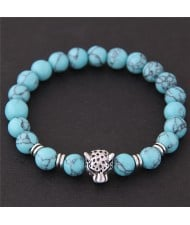 Leopard Head Turquoise Beads Fashion Bracelet - Blue