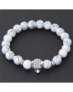 Leopard Head Turquoise Beads Fashion Bracelet - White