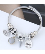 Love Theme Eye Pendant Beads Fashion Bracelet - Gray