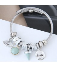 Love Theme Eye Pendant Beads Fashion Bracelet - Green