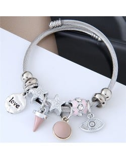 Love Theme Eye Pendant Beads Fashion Bracelet - Pink