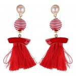 Stripes Button with Triple Strands Cotton Threads Tassel Design Fashion Earrings - Red