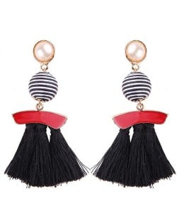 Stripes Button with Triple Strands Cotton Threads Tassel Design Fashion Earrings - Black