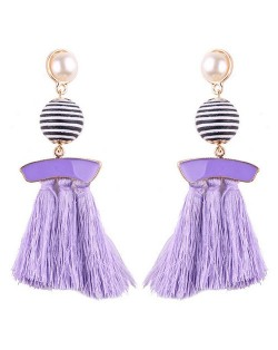 Stripes Button with Triple Strands Cotton Threads Tassel Design Fashion Earrings - Violet