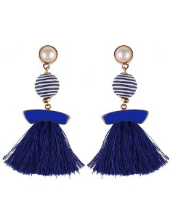 Stripes Button with Triple Strands Cotton Threads Tassel Design Fashion Earrings - Royal Blue