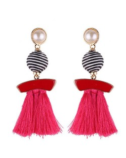 Stripes Button with Triple Strands Cotton Threads Tassel Design Fashion Earrings - Rose