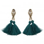 Vintage Coarse Linked Chain Design Cotton Threads Tassel Latin American Fashion Earrings - Green