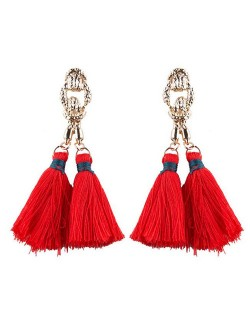 Vintage Coarse Linked Chain Design Cotton Threads Tassel Latin American Fashion Earrings - Red