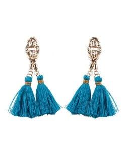 Vintage Coarse Linked Chain Design Cotton Threads Tassel Latin American Fashion Earrings - Blue