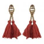Vintage Coarse Linked Chain Design Cotton Threads Tassel Latin American Fashion Earrings - Brown