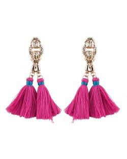 Vintage Coarse Linked Chain Design Cotton Threads Tassel Latin American Fashion Earrings - Rose