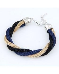 Concise Metallic Weaving Style Bracelet - Black Blue Gold