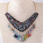 Colorful Crystal Beads Cloth Arch Design Women Fashion Costume Necklace