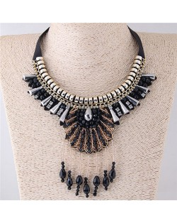 Black Crystal Beads and Alloy Combo Fashion Ribbon Costume Necklace