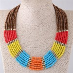 Multiple Beads Combo Design Chunky Fashion Costume Necklace