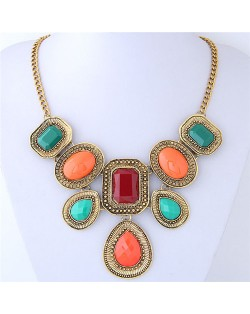 Assorted Colors Resin Gems Inlaid Vintage Geometric Design Women Costume Necklace