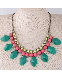 Candy Color Resin Gems Women Fashion Costume Necklace