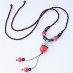 Bohemian Fashion Ceramic Beads Weaving Rope Design Long Style Costume Necklace - Red