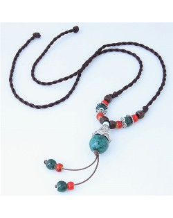 Bohemian Fashion Ceramic Beads Weaving Rope Design Long Style Costume Necklace - Green