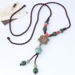 Vintage Hollow Alloy Flower and Ceramic Beads Weaving Rope Fashion Women Necklace