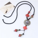 Bohemian Floral Fashion Ceramic Beads Long Style Costume Necklace