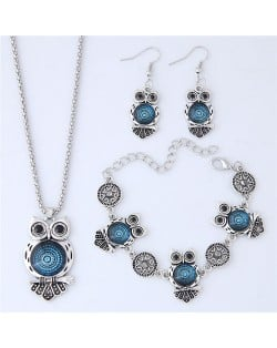Vintage Floral Pattern Night Owl Fashion Necklace Earrings and Bracelet Set - Blue
