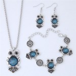 Vintage Floral Pattern Night Owl Fashion Necklace Earrings and Bracelet Set - Blue