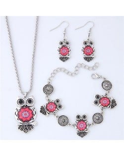 Vintage Floral Pattern Night Owl Fashion Necklace Earrings and Bracelet Set - Red
