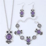 Vintage Floral Pattern Night Owl Fashion Necklace Earrings and Bracelet Set - Purple