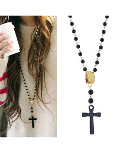 High Fashion Ring and Cross Pendants Long Beads Chain Costume Necklace