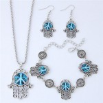 Resin Peace Symbol Inlaid Palm Fashion Necklace Earrings and Bracelet Set - Blue