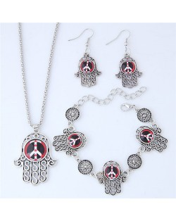 Resin Peace Symbol Inlaid Palm Fashion Necklace Earrings and Bracelet Set - Red