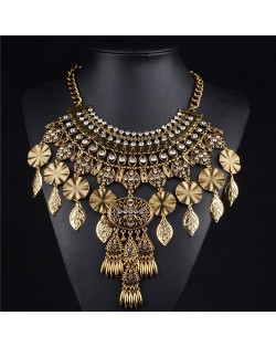 Rhinestone Inlaid Alloy Plates Leaves and Floral Waterdrop Tassels Chunky Costume Necklace - Golden