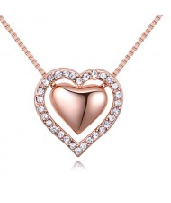 Imported Czech Crystal Inlaid Dual Hearts Design Costume Necklace - Rose Gold