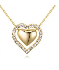 Imported Czech Crystal Inlaid Dual Hearts Design Costume Necklace - Champagne Gold