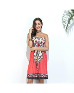 Silky Floral Printing Wrap Chest One-piece Women Dress - Color 4