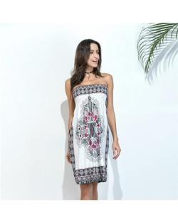 Silky Floral Printing Wrap Chest One-piece Women Dress - Color 6