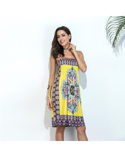 Silky Floral Printing Wrap Chest One-piece Women Dress - Color 7