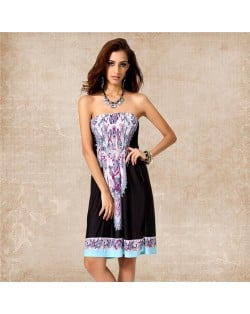 Silky Floral Printing Wrap Chest One-piece Women Dress - Color 10