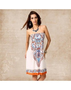 Silky Floral Printing Wrap Chest One-piece Women Dress - Color 11