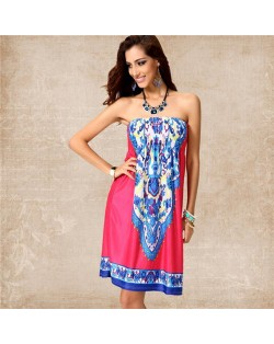 Silky Floral Printing Wrap Chest One-piece Women Dress - Color 12