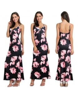 Flowers Printing Straps High Fashion Women One-piece Dress - Pink