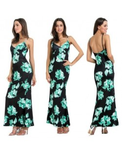 Flowers Printing Straps High Fashion Women One-piece Dress - Green